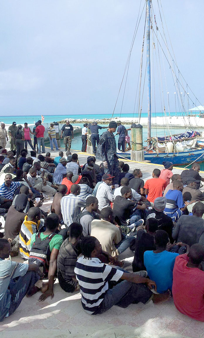 Scores apprehended following on Haitian Sloop in Eleuthera this afternoon.