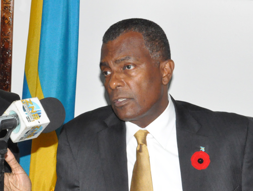Minister of Foreign Affairs and Immigration, the Hon. Fred Mitchell, during a press briefing in Freeport on Friday at the Ministry for Grand Bahama. (BIS Photo/Andrew Miller)