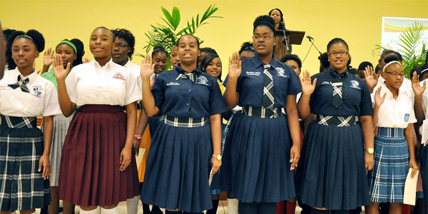 49 students representing public and independent schools in New Providence pose before entering St Joseph Fellowship Hall on Wednesday November 4th  2015, before their induction as Teacher Cadets in the Future Teacher Programme [Photo: Aletha Cooper].