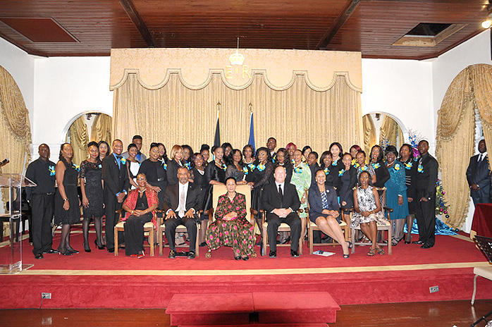 Fifty-two students were certified in the Tourism 360 programme in conjunction with the American Hotel & Lodging Education Institute. The students received awards from Governor General Dame Marguerite Pindling at Government House recently. (Photo/Kemuel Stubbs)