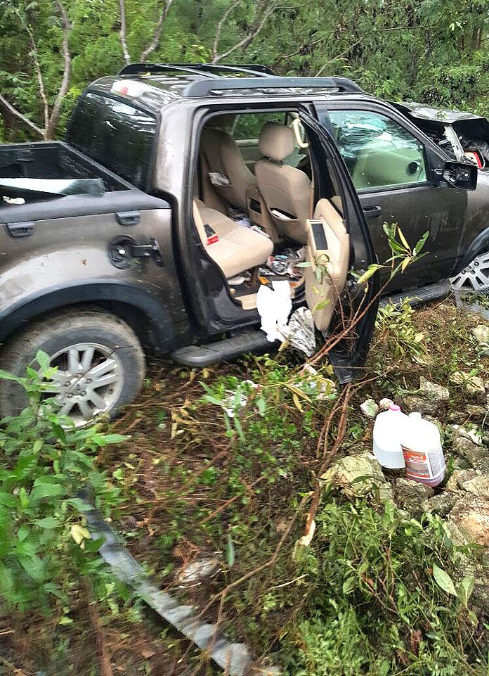 Live shots from that bad accident in Abaco this morning involving politician Fritz Bootle