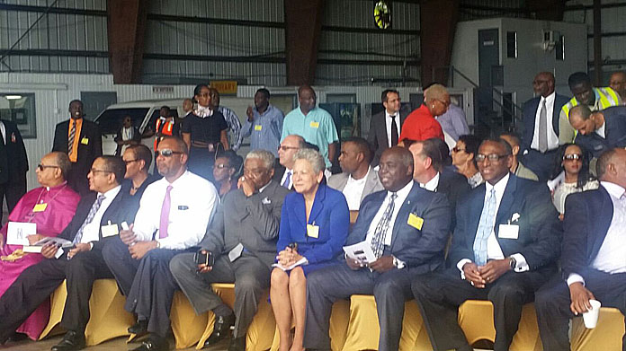 Acting Prime Minister Hon. Philip Brave Davis and Minister with Responsibility for Bahamasair at LPIA to receive the first new ATR aircraft for the airline.