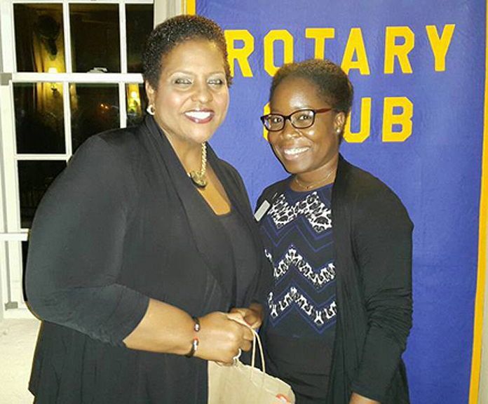 MP for Long Island Loretta Butler-Turner and  Rotarian Guerlancy Pierre