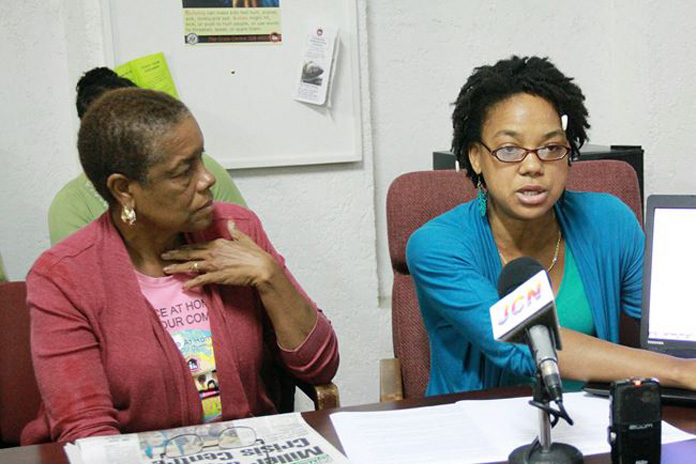 Donna Nicolls and Noelle Nicolls at a press conference held at the Crisis Centre yesterday. Photo: Tim Clarke/Tribune Staff