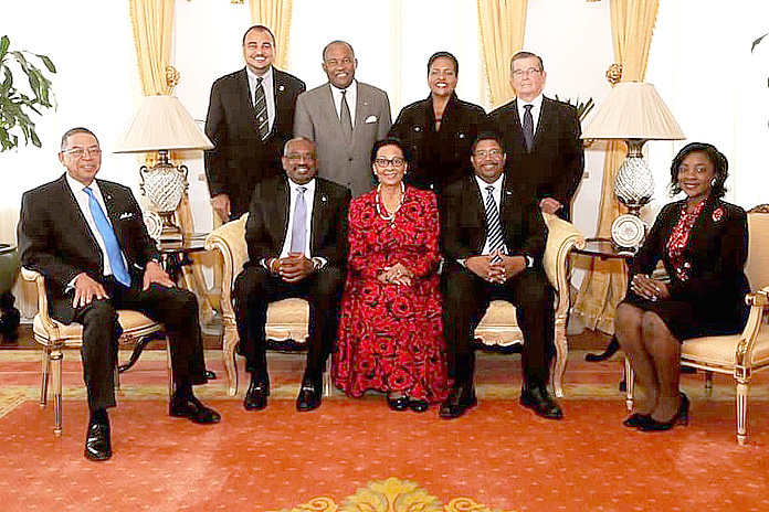 Members of HM Loyal Opposition sat down for lunch with the Governor General Dame Marguerite. Her Excellency hosted the Hon. Dr. Hubert Minnis, leader, and members of the Opposition Free National Movement to a Christmas luncheon at Government House, on December 14, 2015.  Pictured during the luncheon event in group photo, the Governor General is seated centre, Dr. Minnis is at centre left, and Peter Turnquest, deputy leader, is at centre right.   At left is Hubert Chipman, MP, St. Annes; and at right, Senator Lanisha Rolle.    Standing from left: Theo Neilly, MP, North Eleuthera; Neko Grant, MP, Central Grand Bahama; Loretta Butler-Turner, MP, Long Island; and Edison Key, MP, Central and South Abaco.  (BIS Photo/Letisha Henderson)