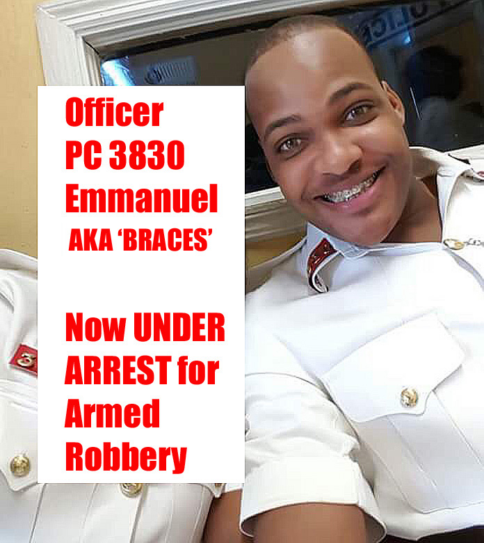 "PC 3830 Emmanuel AKA ""BRACES"" under arrest."
