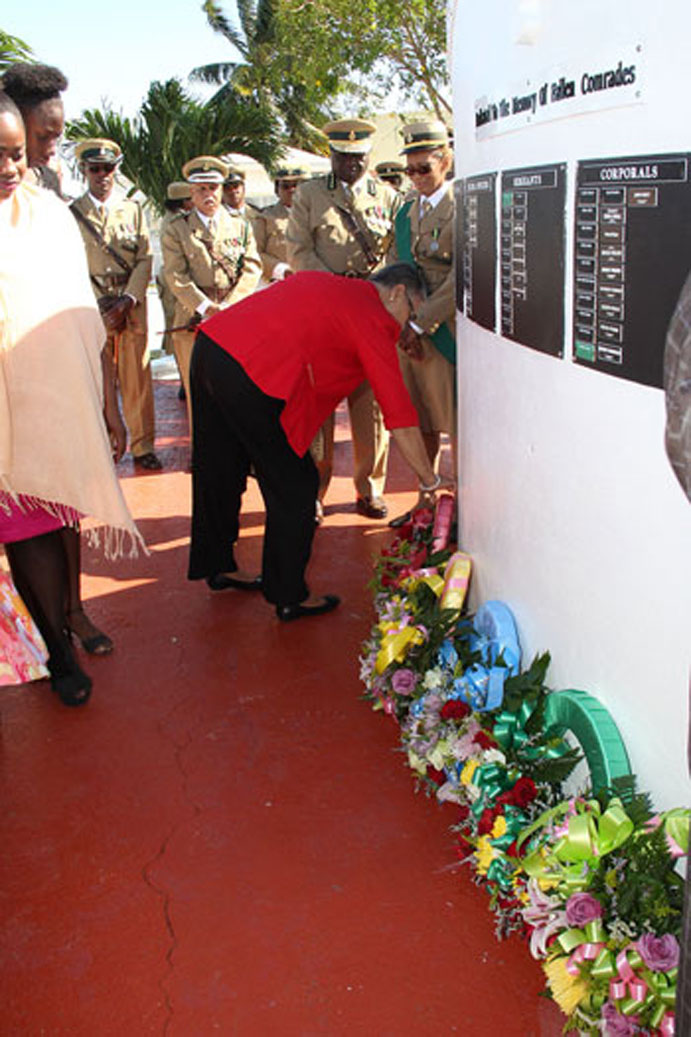 Laying of wreath at the Wall of Remembrance at the Bahamas Department of Correctional Services on Sunday, November 29, 2015. [BIS Photo/Letisha Henderson.]