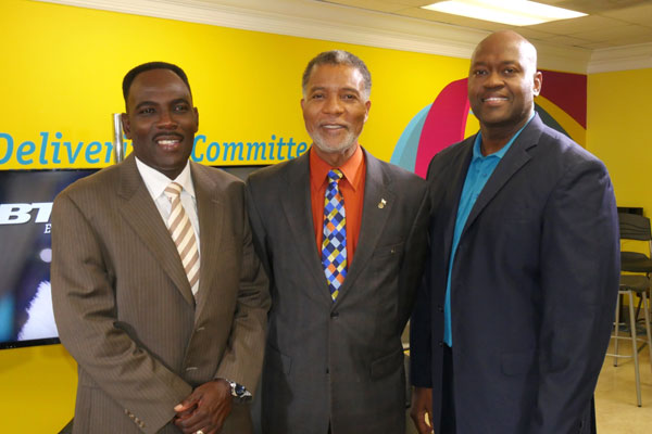 L TO R - Dudley Seide (GB Outreach Program), Leon Williams, Talbot Collie (VP, Northern Bahamas)