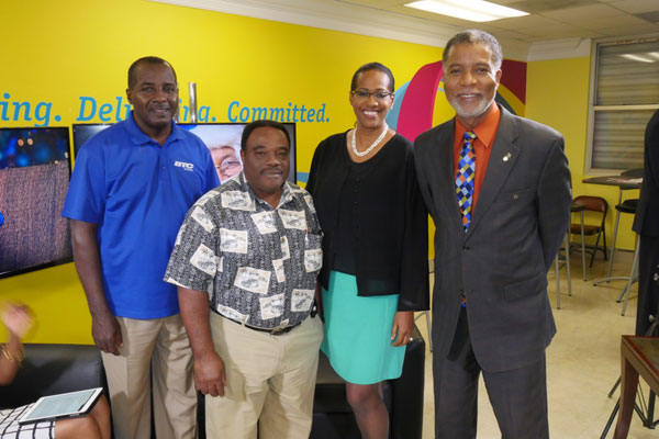 L TO R: Christopher Hinsey (Senior Manager, Andros & Berry Island), Mr. Russell (Andros Children's Home), Patricia Walters (SVP), Leon Williams