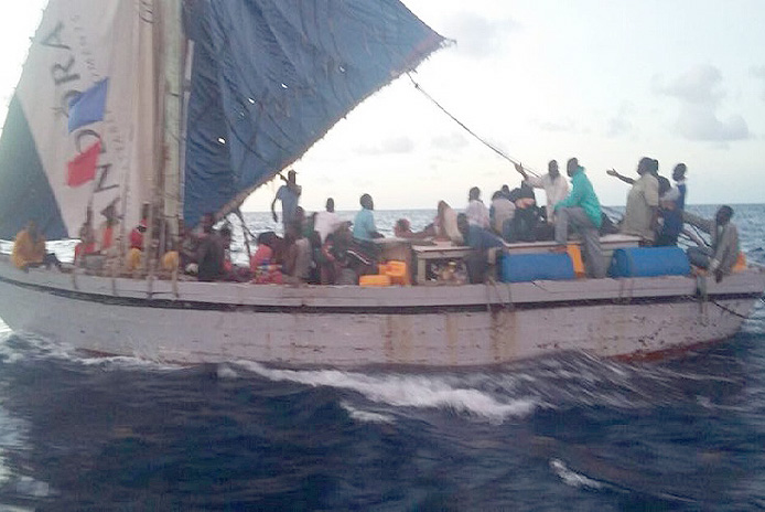 File photo of illegal migrants intercepted in Bahamian waters.
