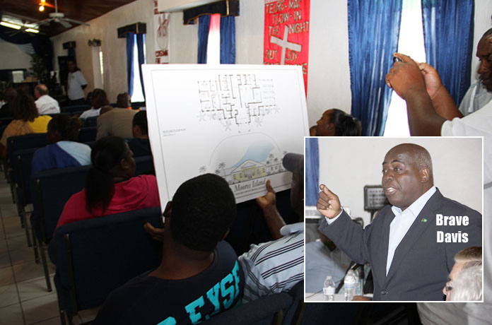 Residents of Moore's Island view schematics for infrastructure improvements to their island.