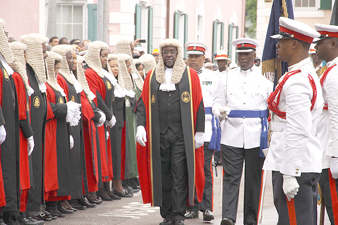 The Hon. Chief Justice Sir Hartman Longley participates in a procession as part of the events to mark the Opening of the Legal Year. (BIS photo/Patrick Hanna).