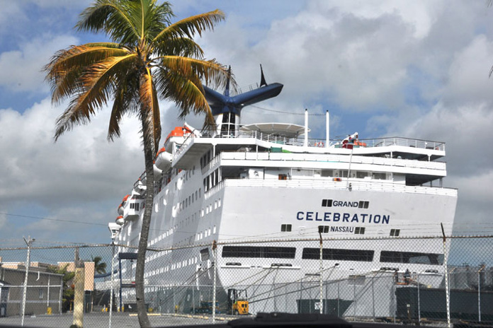 The Grand Celebration is shown docked at Freeport Harbour on Wednesday, as the first anniversary celebrations were going on. (BIS Photo/Vandyke Hepburn)