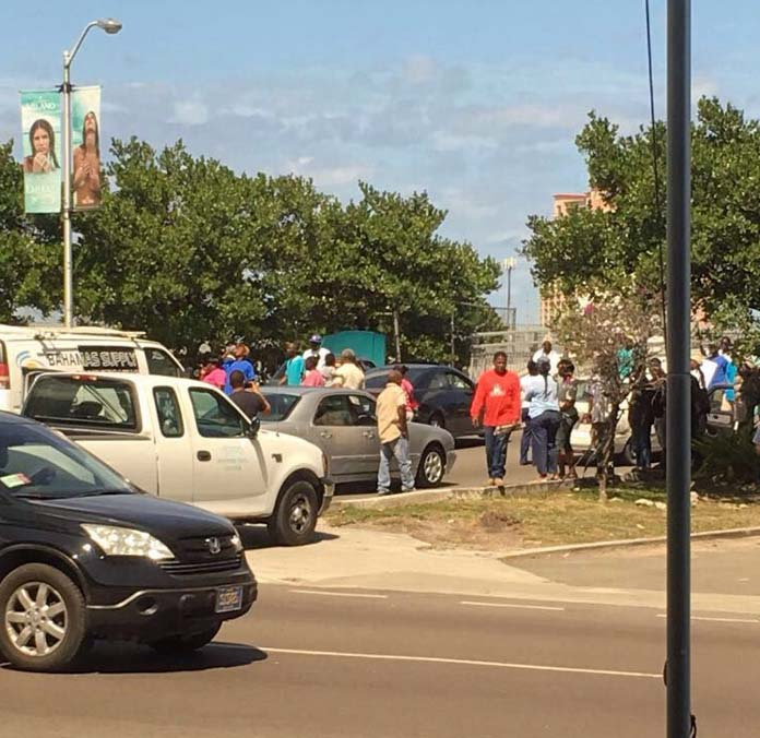 Guests t the island stranded at the foot of sir Sidney Poitier Bridge this morning.