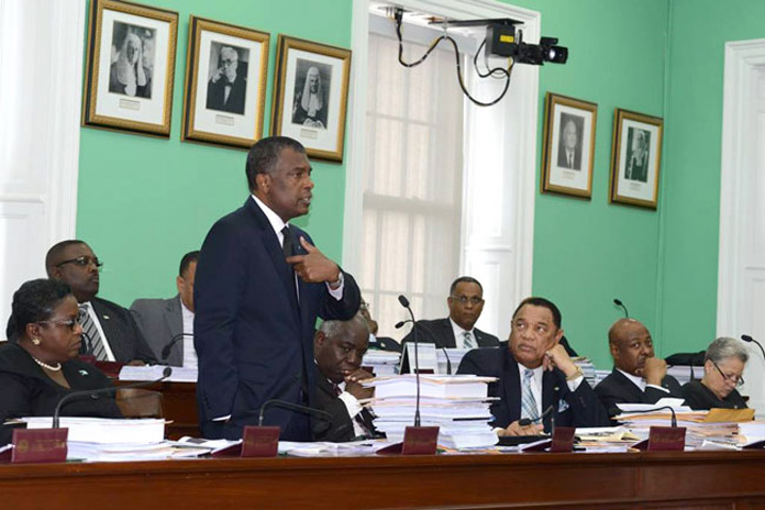 Minister for Foreign Affairs and Immigration Hon. Fred Mitchell addresses Parliament.