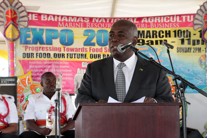 "Acting Prime Minister and Minister of Works and Urban Development the Hon. Philip ""Brave"" Davis speaks at the opening ceremony for The Bahamas National Agricultural Marine Resources and Agri-Business Expo 2016, on March 10, 2016, at the Gladstone Road Agricultural Centre. (BIS Photo/Eric Rose)"