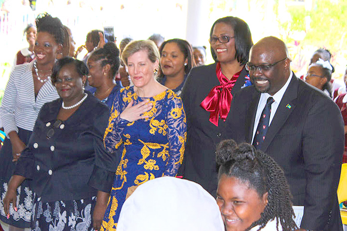 Hon. Kenred Dorsett, Minister of the Environment and Housing; Her Royal High The Countess of Wessex, Carolyn Wright-Mitchell, Principal of Garvin Tynes Primary School.
