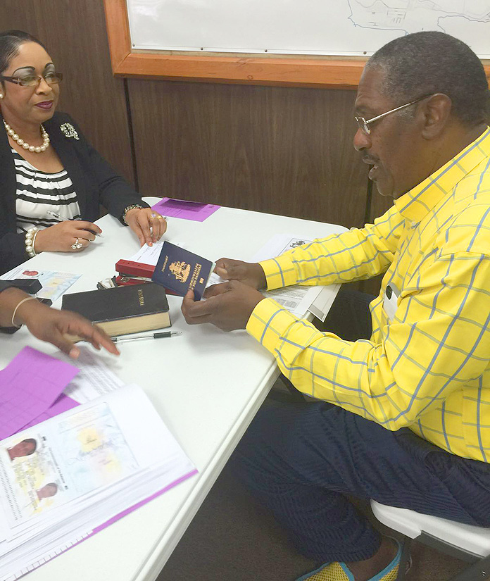 PLP Chairman Bradley Roberts registering yesterday at the Parliamentary Registration Office on Farrington Road.