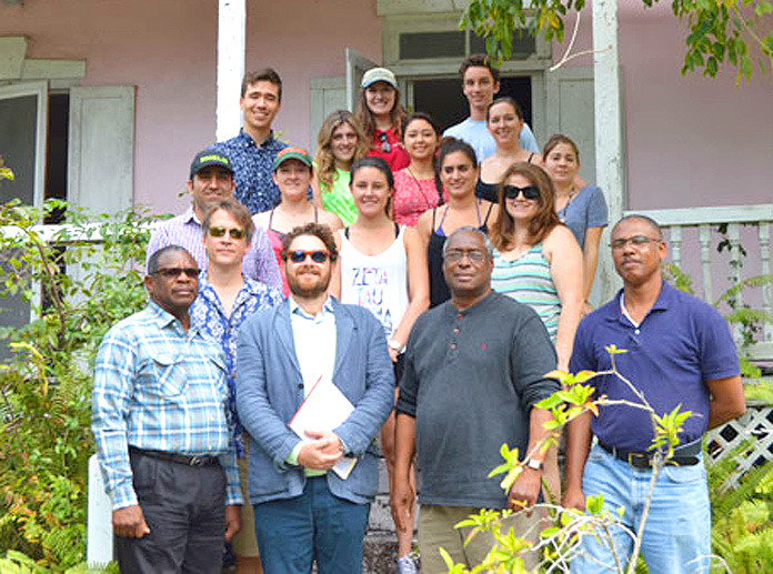 Officials from AMMC along with faculty and staff from the University of Miami School of Architecture in front of the Commissioner's Residence on Harbour Island. The site is scheduled for future restoration.