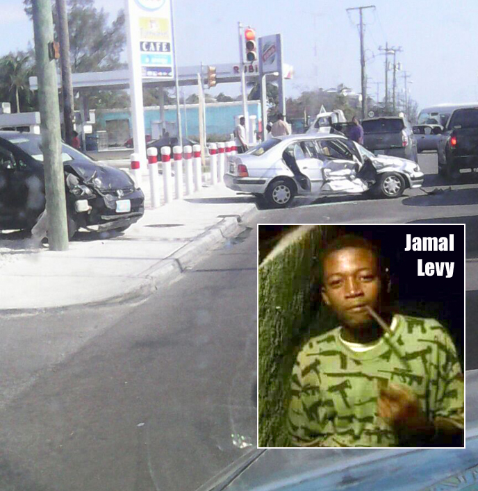 Accident at the intersection of East Street South today and inset photo of Andros homicide victim Jamal Levy.