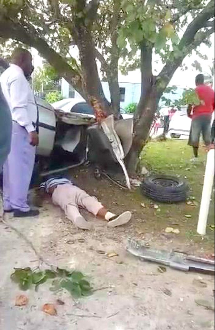 The tragic scene at that accident in San Andros This week.