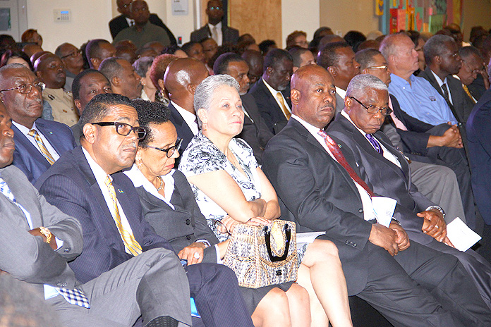 Leaders join Prime Minister Christie at teh 2040 Launch at the Harry C. Moore Library.