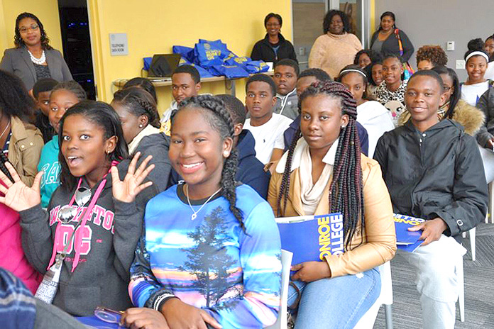 Aquinas Students at New York for a tour of Monroe College.