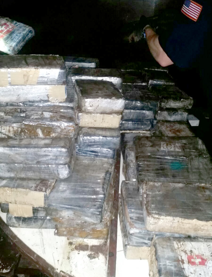 Drugs confiscated from a Haitian freighter this evening...