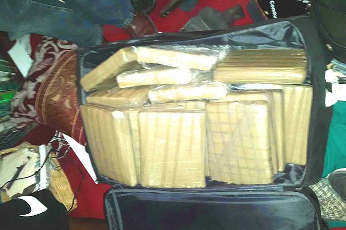 That bag with 90lbs of drugs discovered at a home on Grand Bahama island.