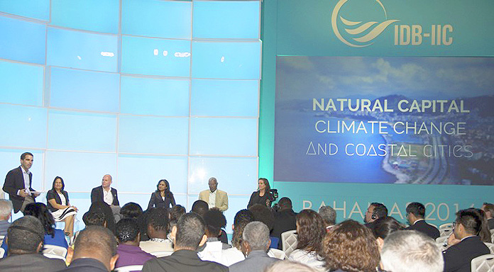 NASSAU, The Bahamas - Members of a panel discuss topics of Natural Capital, Climate Change and the Future of Coastal Cities at a climate change seminar, April 8, as part of the Inter-American Development Bank and Inter-American Investment Corporation meetings, April 7-10, 2016 at Baha Mar Convention Centre.