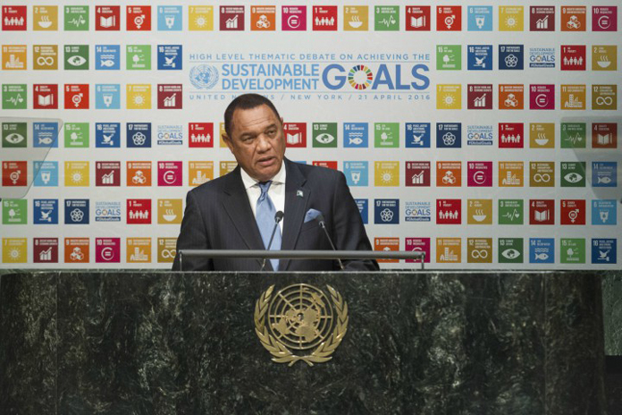 NEW YORK – Prime Minister of the Commonwealth of The Bahamas the Rt. Hon. Perry Christie addresses the United Nations High Level Thematic Debate on Achieving The Sustainable Development Goals, April 21, 2016. (UN Official Photo)