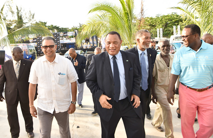 Prime Minister Rt. Hon. Perry Christie and BTC Boss Leon Williams inspects Carnival Companies.