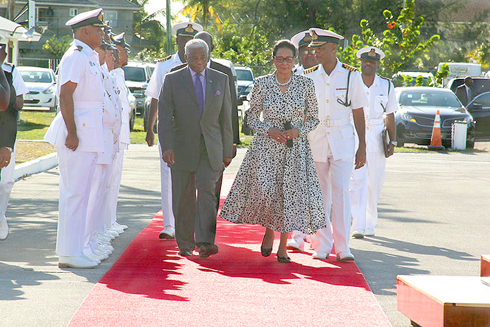 Her Excellency Dame Marguerite Pindling, Governor-General, arrives at the RBDF Coral Harbour Base escorted by Minister of National Security the Hon. Dr. Bernard Nottage, left, and RBDF Commander (Actg.) Captain Tellis A. Bethel, right, Tuesday morning, May 10, 2016.