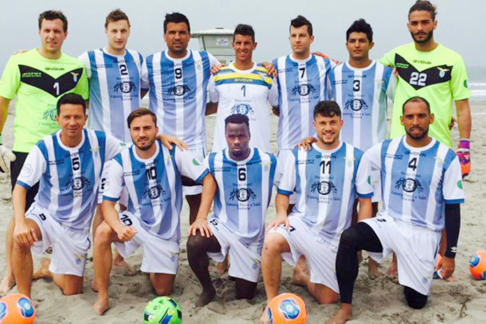 Lesley St. Fleur (No. 6, front row) signed with Lazio to play in the 10th edition of Beach Soccer USA Cup in Oceanside, Calif. The team won its friendly against the world's No. 4-ranked Tahiti with a final score of 6:3. St. Fleur, who also lead Montego Bay United FC to victory in Jamaica's Red Stripe Premier League earlier this month, is the top player on the Bahamas Men's National Beach Soccer Team.