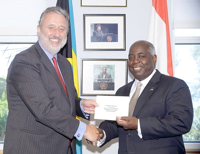 His Excellency Hendrik Jurriaan Schuwer and Deputy Prime Minister Hon. Philip Brave Davis.