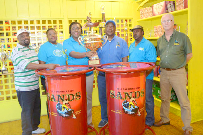 Left to right: Tyrone T, Regatta host; Umeakie Sawyer, committee member; Chervita Campbell, Committee Chairman; Clayton Russell, Bahamian Brewery; Derek Moxey, committee member; and Donald Delahey of Bahamian Brewery & Beverage