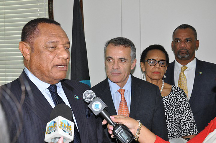 The University of Miami is in talks with the Government of The Bahamas about establishing a School of Medicine in Grand Bahama, Prime Minister of The Bahamas, the Rt. Hon. Perry Christie, pictured left, announced on Friday. Also shown with the Prime Minister from left: Pascal J. Goldschmidt, M.D., Dean of the University of Miami Miller School of Medicine; Attorney General and Minister of Legal Affairs, Senator the Hon. Allyson Maynard-Gibson; and Minister of Education, Science and Technology, the Hon. Jerome Fitzgerald. Also present were: Minister for Grand Bahama, the Hon. Dr. Michael Darville; and Minister of Health the Hon. Dr. Perry Gomez. (BIS Photo/Vandyke Hepburn)