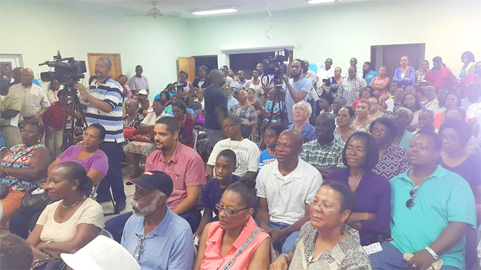 Residents at the BTC Town Hall meeting last night.