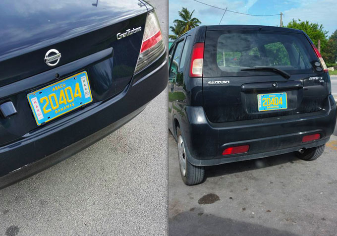 Two different vehicles on one island - ABACO! Road Traffic workers must be selling their own registrations...