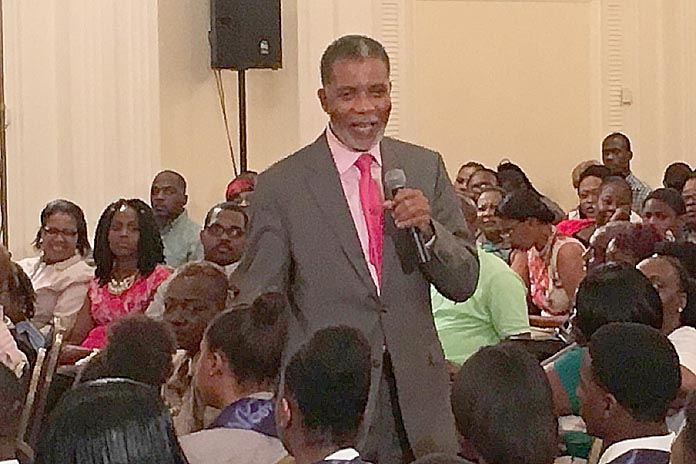 BTC's CEO Leon Williams speaking with the Technical Cadet Graduates at the Hilton...