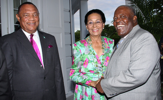 Governor General Her Excellency Dame Marguerite Pindling poses with Prime Minister the Rt. Hon. Perry Christie (left) and former Prime Minister the Rt. Hon Hubert Ingraham at the St. Agnes Anglican Church Recognition and Awards Presentation Ceremony, Friday, June 24, 2016.  (BIS photo/Patrick Hanna)