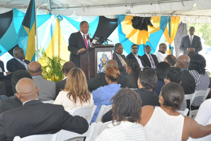 Prime Minister the Rt. Hon. Perry G. Christie brought the keynote address at the Contract Signing Ceremony for the construction of a Seawall at Smith's Point, Friday, June 24, 2016. (BIS Photo/Vandyke Hepburn)