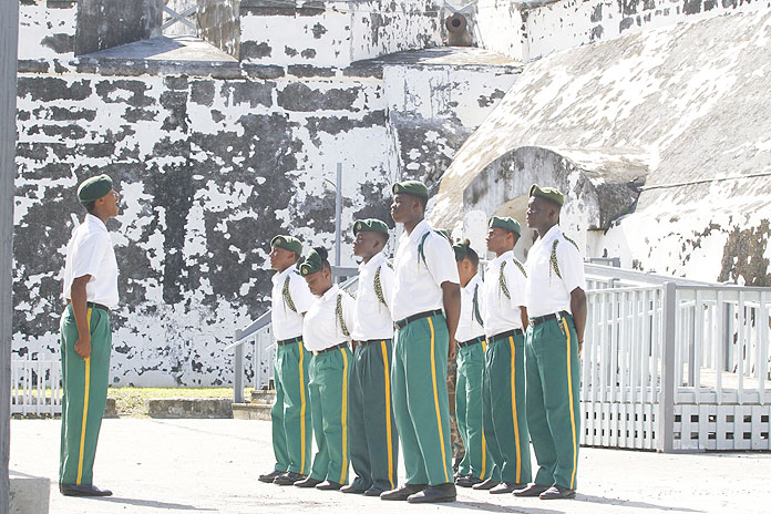 Photos show the Royal Bahamas Defence Force (RBDF) Rangers practicing the re-enactment of historical military drills at Fort Charlotte.