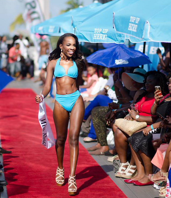 Miss Bahamas Universe contestants on the catwalk.