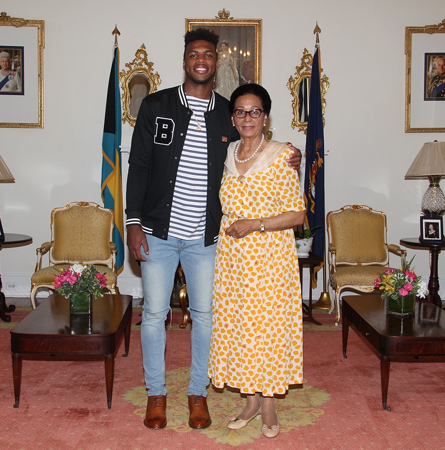 'Buddy' Hield at Government House with Dame Marguerite.