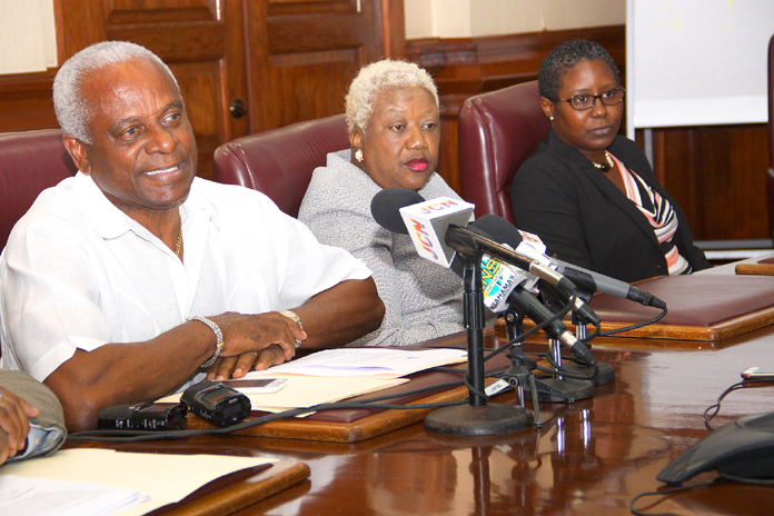 The National Insurance Board is moving to rectify technical problems preventing the timely payout of claims. Pictured during a press conference Monday, July 4, 2016 at the Blue Hill Road head office are: Jason Moxey, Operations Consultant; V. Theresa Burrows, Acting Director, NIB; and Tami Culmer-Francis, Assistant Director, Family Islands Operations.  (BIS Photo/Patrick Hanna)