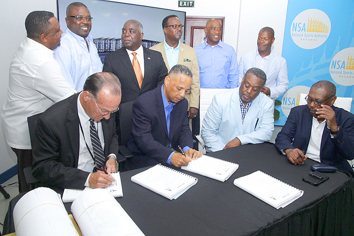 Contract Signing for the Andre Rodgers National Baseball Stadium, July 18, 2016 at the Thomas A. Robinson National Stadium. (BIS Photo/Derek Smith)