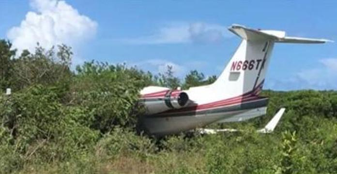 The Lear jet 55 off the runway and into bushes on Eleuthera on Friday.