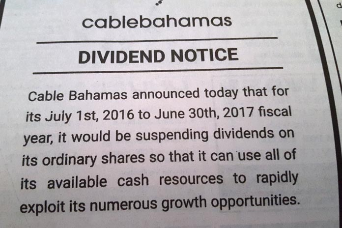 NO Shares this year for Cable Bahamas Ordinary Shareholders.