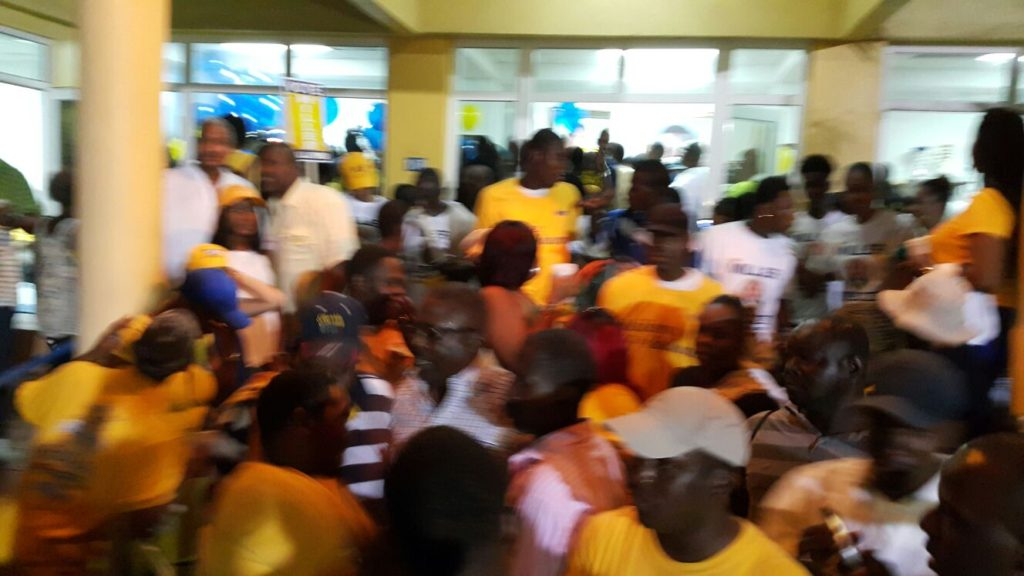 Massive crowd outside PLP Headquarters last night.